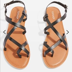 Topshop Black Cross Strap Sandals